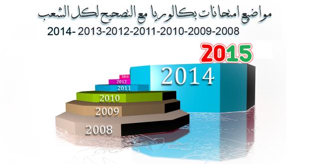 مواضيع بكالوريا (2008، 2009، 2010، 2011، 2012، 2013، 2014) مع التصحيح لكل الشعب (تحميل مباشر)